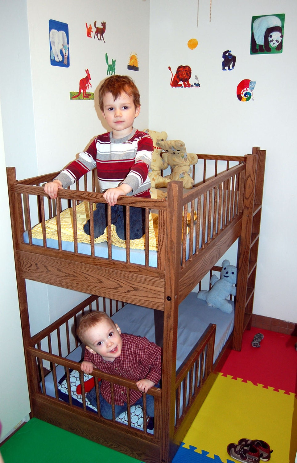 Small bunk bed in oak by rmccustomwoodworks on etsy for Toddler bunk beds