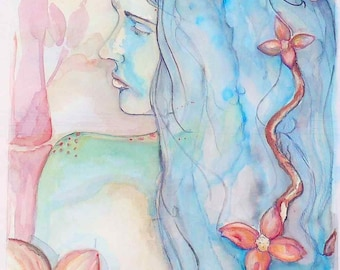 11x14 blue profile with blossoms Origninal Watercolor Painting Female woman