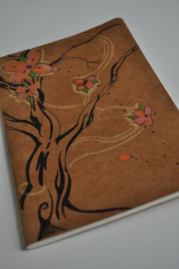 Journal blank cherry tree hand drawn journal