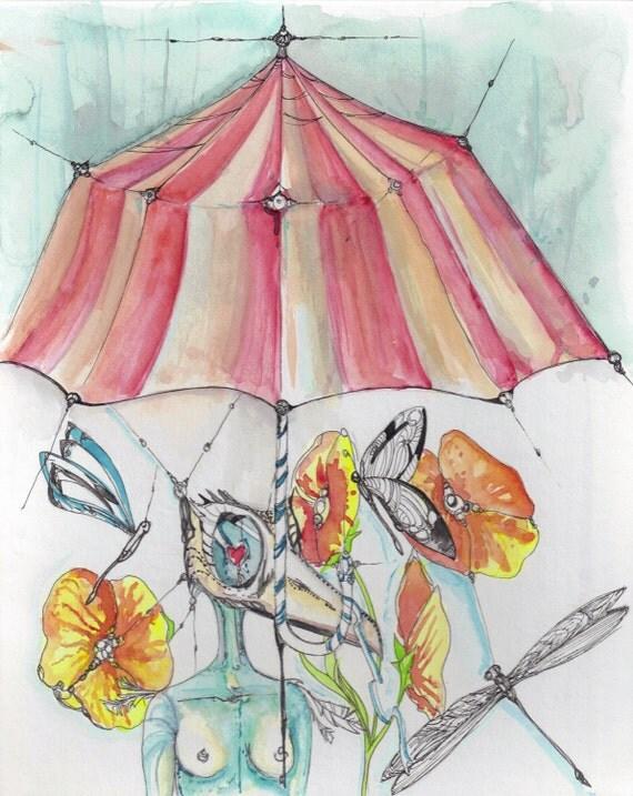 imagines umbrella print of Original Watercolor painting