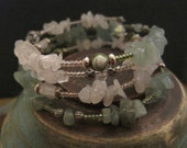 Seashell, Seafoam Memory Wire Bracelet with Rose Quartz and Green Aventurine
