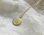 Pisces necklace, brass astrological charm with gold filled chain, sleek modern jewelry SALE