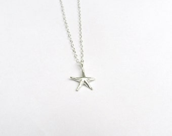 Tiny starfish necklace in sterling silver, summer starfish, delicate modern jewelry