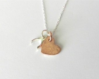 Rose gold and sterling silver heart and wishbone necklace, love and luck, delicate modern jewelry