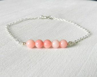 Coral bead bar bracelet, capri, modern delicate jewelry