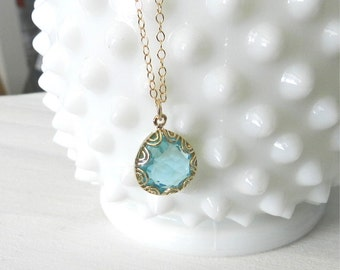 Aquamarine teardrop necklace in gold, adele, lovely bridal or everyday jewelry
