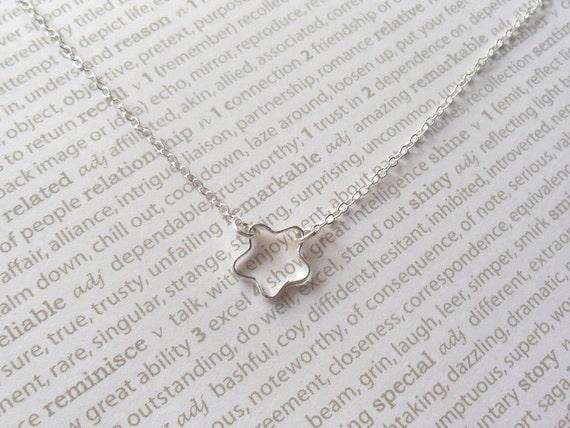 SALE Tiny star necklace, starflower, delicate modern jewelry