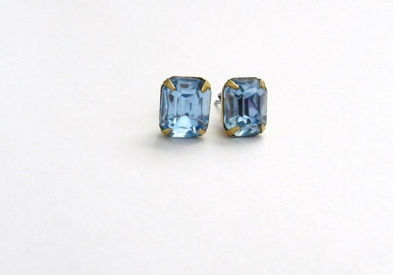 Vintage blue topaz glass rhinestone stud earrings, elegant modern jewelry