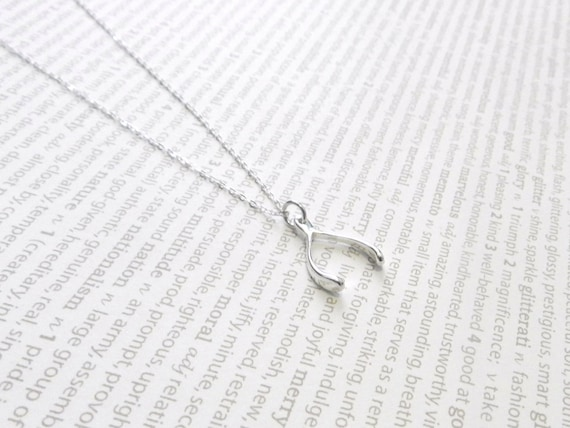 Wishbone necklace in sterling silver, make a bigger wish, delicate modern jewelry