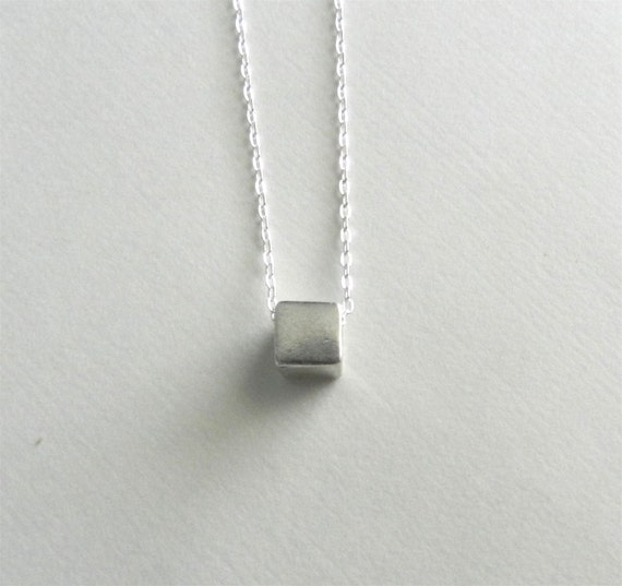 Tiny cube necklace in sterling silver, minimalist, sleek modern jewelry