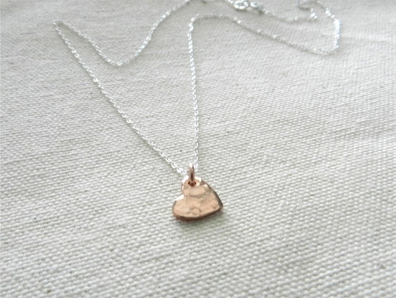 Tiny rose gold heart necklace, tiny love, sweet simple jewelry