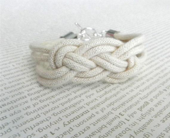 Rope bracelet with silver toggle, square knot, modern friendship bracelet