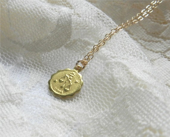 Cancer necklace, brass astrological charm necklace with gold filled chain, sleek modern jewelry SALE