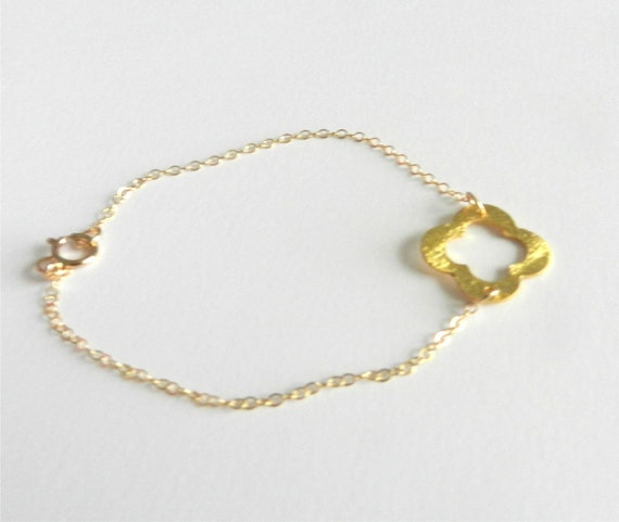 Quatrefoil bracelet, gold dipped with 14k gold filled chain, modern delicate jewelry
