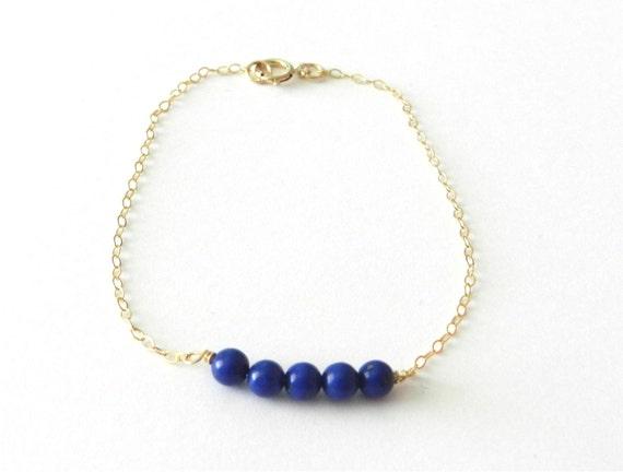 Lapis bead bar bracelet, capri, modern delicate jewelry SALE