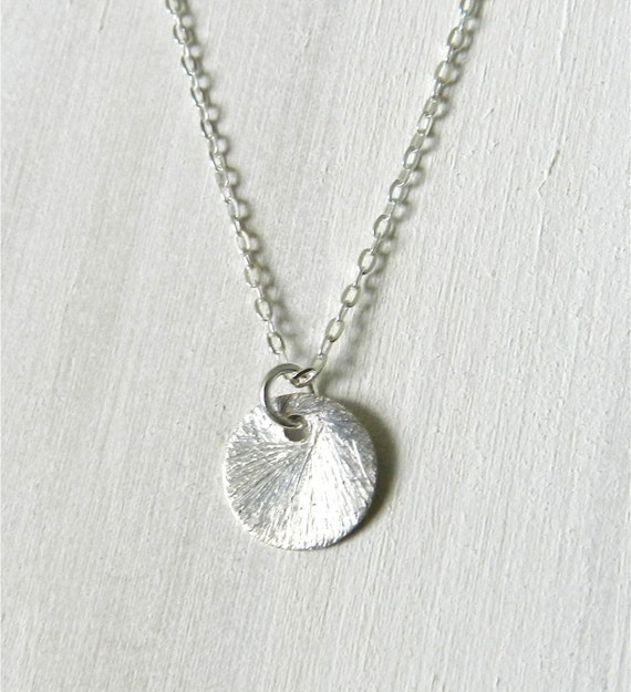 Disc necklace in sterling silver, tiny dot, modern minimal jewelry