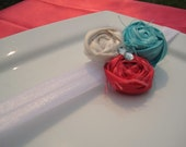 Rolled Rosette Trio Turquoise Ivory Watermelon Fabric Flower Hair Clip or Pin