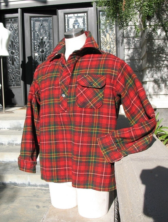Vintage LL BEAN Hunting Jacket Red Plaid Wool XL