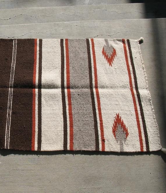 Vintage Navajo Double Saddle Blanket Rug Hand Woven