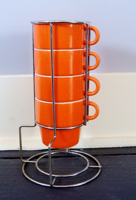 Vintage Orange Stacking Mugs With Original Rack Set Of 4