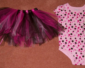 Hot Pink and Brown TuTu with Matching Bodysuit Ready to Ship in Size 24 Months - Free Shipping