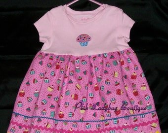 Cupcake Parade T-Shirt Dress - Pink Size 18 - 24 Months is Ready to Ship