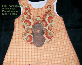Fall/Thanksgiving A-line Knot Dress/Jumper is ready to Ship in Size 18 Months
