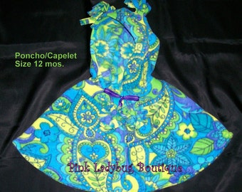 Fleece Hooded Poncho/Capelet Size 12 Mos. is Ready to Ship