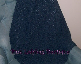 Blue Hand Crocheted Baby Afghan Ready to Ship