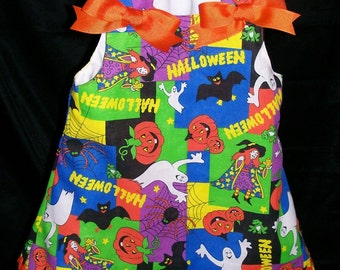 Halloween A-line Dress/Jumper Infant Size 6 to 9 Months with Hair Bow and Headband is Ready to Ship