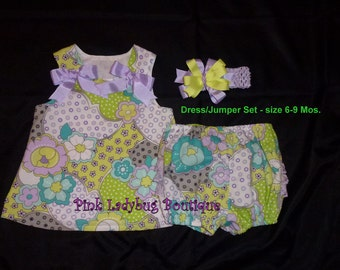 Infant A-line Dress/Jumper Set  - Ready to Ship in Size 6 to 9 Months