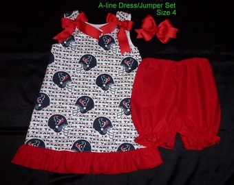 Texans A-line Dress/Jumper 3 Piece Set Includes Bloomers and Hair Bow is Ready to Ship in Size 4
