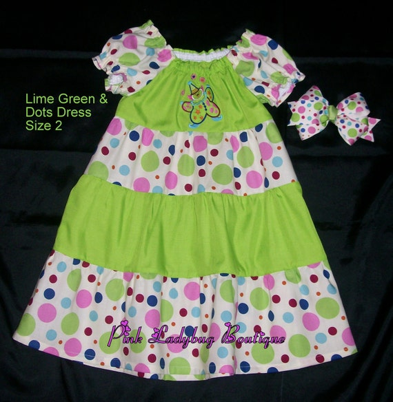 Clown Peasant Style Dress - Lime Green and Dots in Size 2 is Ready to Ship
