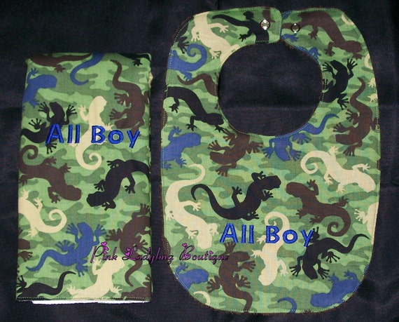 Bib and Burp Cloth Set Embroider with All Boy is Ready to Ship