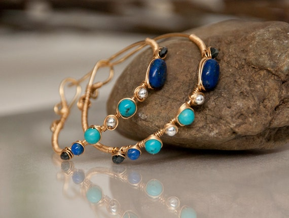 Egyptian Hoops - hand forged red brass hoop earrings with lapis lazuli, turquoise, black spinel, and sterling silver beads