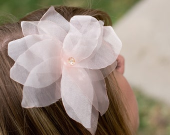 Leila- Light peach organza poinsettia flower with swarovski center Headband