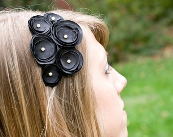 Beatrice- Black satin multi flower headband with small pearl centers