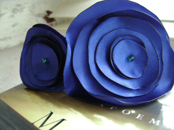Lillian-Bright Blue Satin Flower Headband with turquoise crystal center.