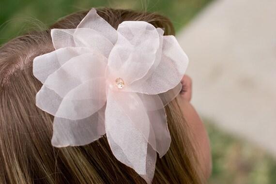 Leila- Light peach organza poinsettia flower with swarovski center Headband