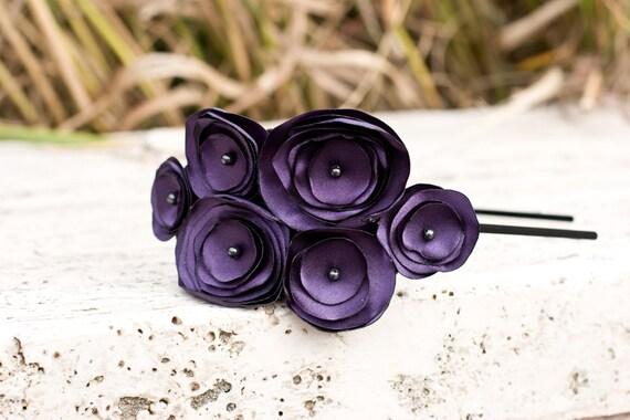 Liv-Deep Plum multi flower headband with dark purple centers