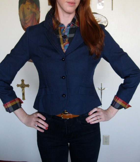 Country Sophisticates navy womens blazer with bright red lining