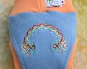 Cloth Diaper Cover Soaker - Pull On - Wool Interlock -  Large - Knotwork Rainbow