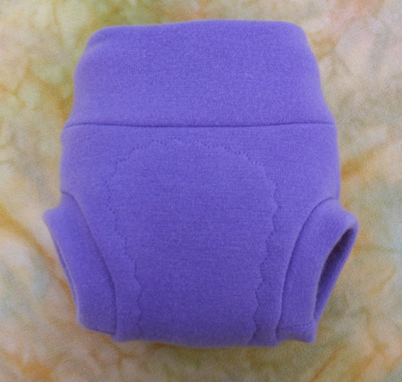Cloth Diaper Cover Soaker - Pull On - Wool Interlock - Large - Grape Purple