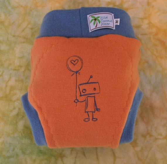 Wool Interlock Pull On Cloth Diaper Cover Soaker  - Large - Lonely Robot