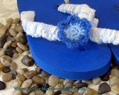 handmade crochet blue flower flip flop