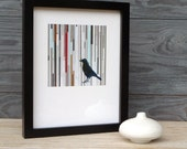 SALE 8 x 10, Framed Square Giclee Print, Navy Bird with Stripes
