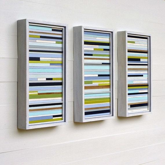 Complementary Set of Three, Distressed Frame Series, Original Framed Sculpture Art, Each 16 x 8
