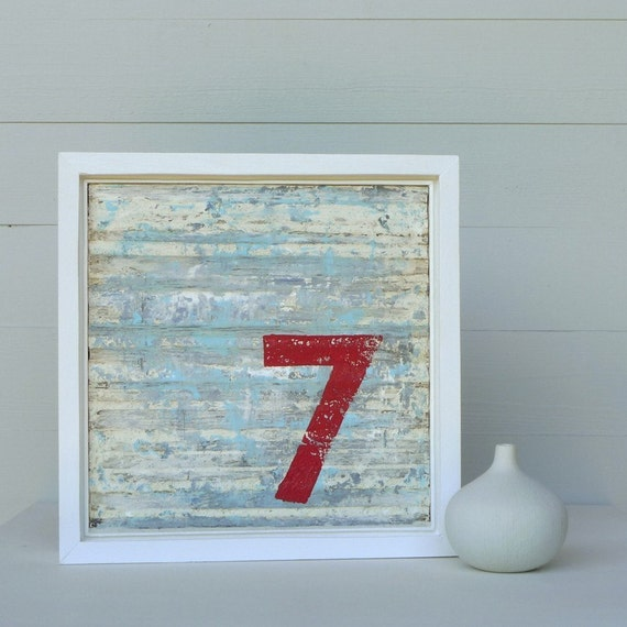 Made to Order, Rustic Lucky Number 7, Original Framed Abstract Art, 11 x 11, Steel Blue Grey and White