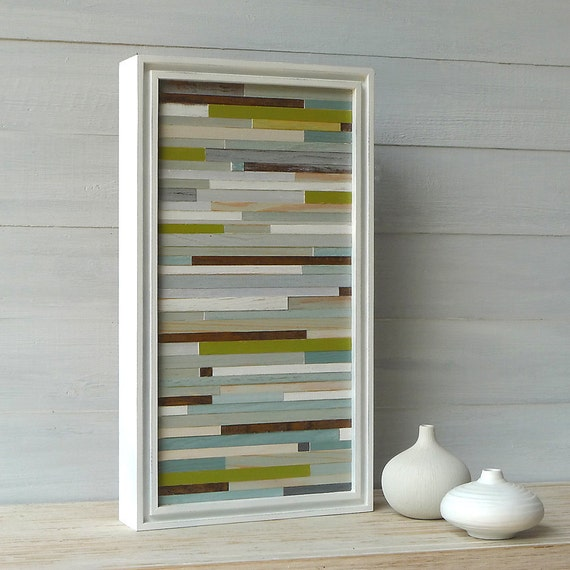 Reserved for Alison, Beach-Colored, White Frame, Distressed Wood Abstract, 9 x 16
