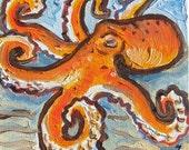 Original Artwork Oil Painting 6 x 6 Octopus